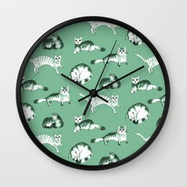 Cats, cats, cats pattern in green palette Wall Clock
