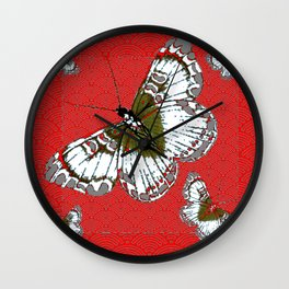 DECORATIVE WHITE & RED PATTERN BUTTERFLIES FROM   SOCIETY6 BY SHARLESART. Wall Clock