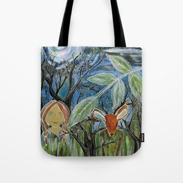 Amy and her Deer Friend Tote Bag