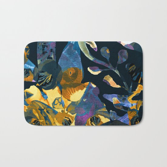 blue abstract floral Bath Mat