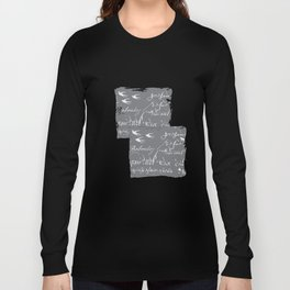 French Script on Steel Gray Long Sleeve T-shirt