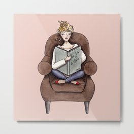 Margaux Sunday Reading Watercolor Metal Print
