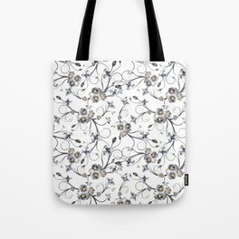 Vintage black gold abstract floral pattern Tote Bag
