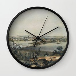 Vintage Pictorial Map of New Haven CT (1849) Wall Clock