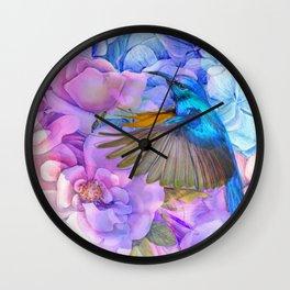 Alcohol ink modern flowers and hummingbird Wall Clock