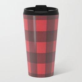 Black & Red Buffalo Check Pattern Travel Mug