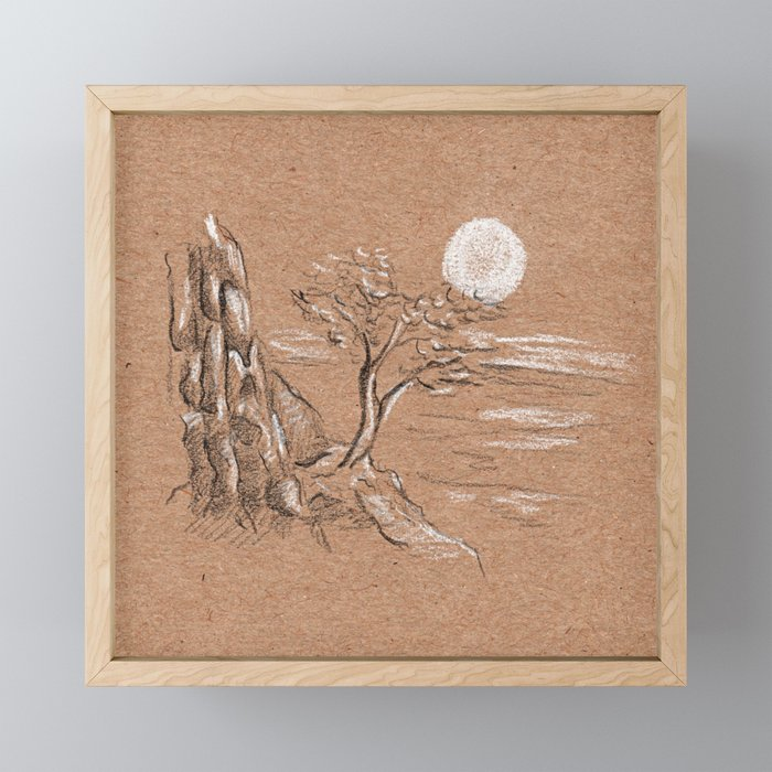 Mountain lonely tree Framed Mini Art Print