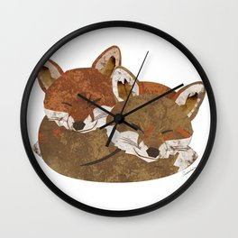 Shelter (Stacked Foxes) Wall Clock