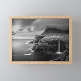 Faroe Islands archipelago, Múlafossur Waterfall, Denmark black and white photograph / black and white photography Framed Mini Art Print