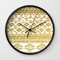 golden girls Wall Clocks featuring GOLDEN TRIBAL by Nika