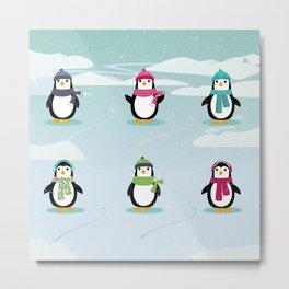 AFE Festive Penguins Metal Print
