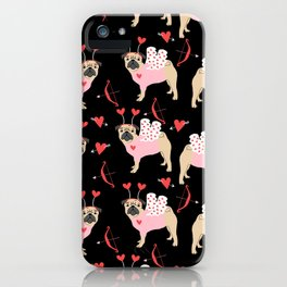 Pug love cupid dog costume valentines day pet gifts pugs iPhone Case