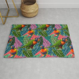 Parrots and Tropical Leaves Rug