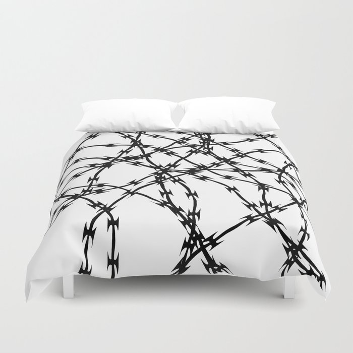Trapped Black on White Duvet Cover