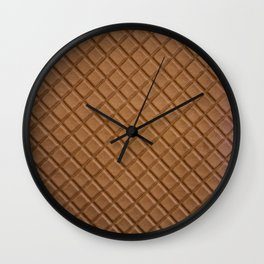 Chocolate brown leather lattice pattern - By Brian Vegas Wall Clock