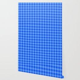Bright Blue Plaid Pattern Wallpaper