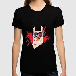 US Holiday Llama with American Flag Glasses T-shirt