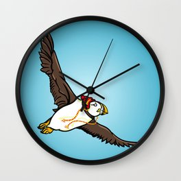 Puffin Wearing A Hat Wall Clock