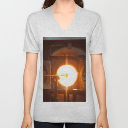 Glass blowing in the Glory Hole Unisex V-Neck