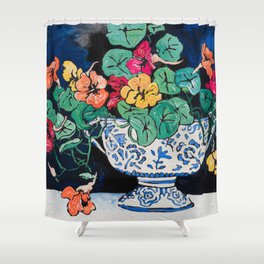 Nasturtium Bouquet in Chinoiserie Bowl on Dark Blue Floral Still Life Painting Shower Curtain