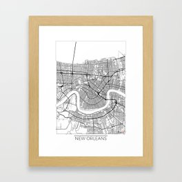 New Orleans Map White Framed Art Print