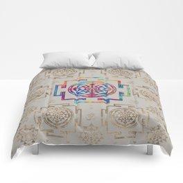 Sri Yantra  / Sri Chakra in color on canvas Comforters