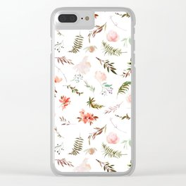 Coral pink green watercolor hand painted floral Clear iPhone Case