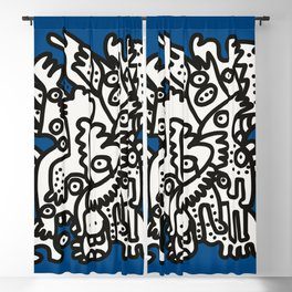 Blue Navy Color 2020 with Black and White Cool Monsters Blackout Curtain
