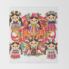 Mexican Dolls Throw Blanket