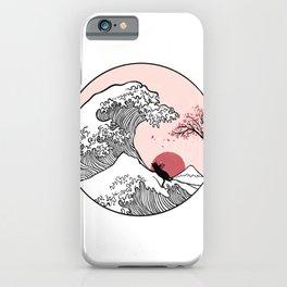 Sakura Tree spring fall Great Wave iPhone Case