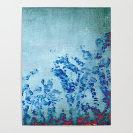 stylized and abstract blue Poster