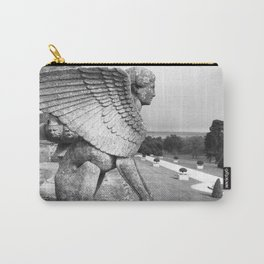 Black and White Photograph of Sphinx Statue Carry-All Pouch