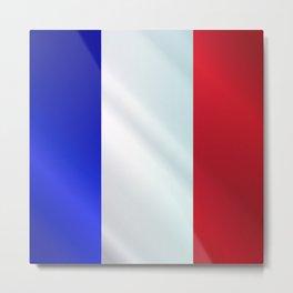 French Grunge Flag Gloss Metal Print