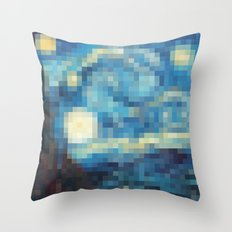 Pixelized Night Throw Pillow