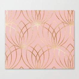 Rose gold millennial pink blooms Canvas Print
