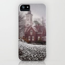 Winter at Presque Isle Lighthouse iPhone Case