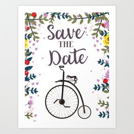 Save the Date Penny Farthing Art Print