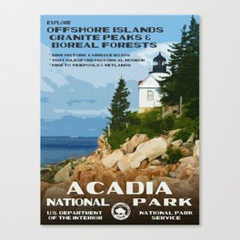 Vintage poster - Acadia National Park Canvas Print
