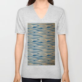 Zebra - Orange Sherbet Shimmer on Saltwater Taffy Teal Unisex V-Neck