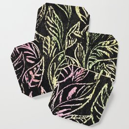 green and pink plant pattern Coaster