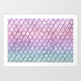 Mermaid Scales on Unicorn Girls Glitter #1 #shiny #pastel #decor #art #society6 Art Print