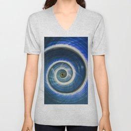 Blue and white spiral shell Unisex V-Neck