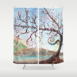 Fantasy Tree Watercolor Art Shower Curtain