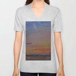 Herringbone Clouds at Sunset, Abbeville and St. Wulfran Cathedral, France by John Ruskin Unisex V-Neck