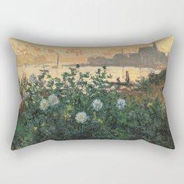 Claude Monet Neck Gaiter FLowers on the Riverbank at Argenteuil Monet Neck Gator Rectangular Pillow