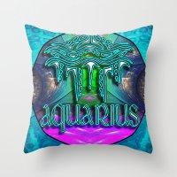 zodiac Throw Pillows featuring Aquarius Zodiac by CAP Artwork & Design
