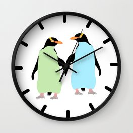 Gay Pride Penguins Holding Hands Wall Clock