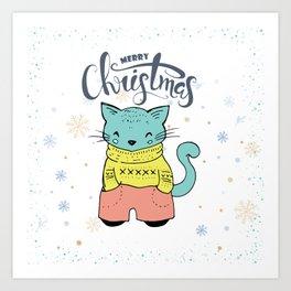 Cool Christmas Cat Merry Christmas Typography Art Print