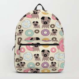 Pug and donuts beige Backpack