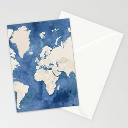 Navy blue watercolor and light brown world map Stationery Cards